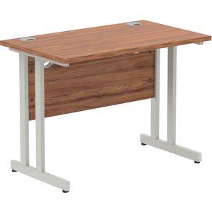 Vitali C-leg Narrow Rectangular Desk (silver Legs), 100wx60dx73h (cm), Walnut Mirdc106wnt Nd, Walnut